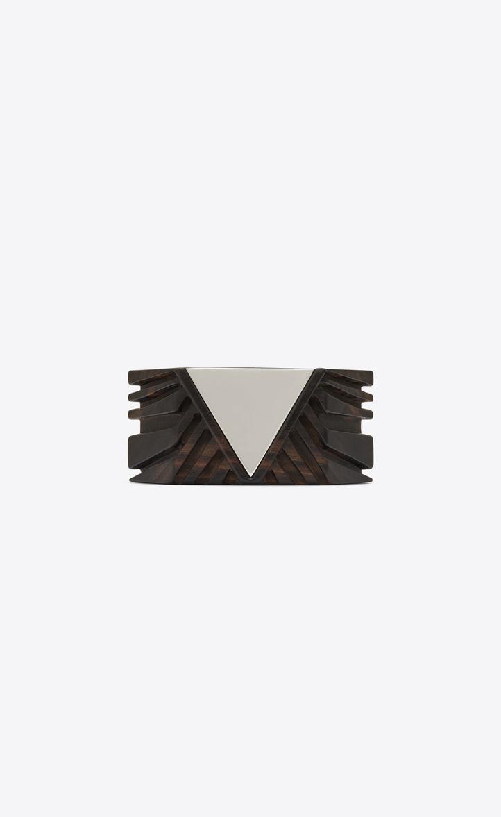 Manchette BOIS triangle en bois marron et métal miroir