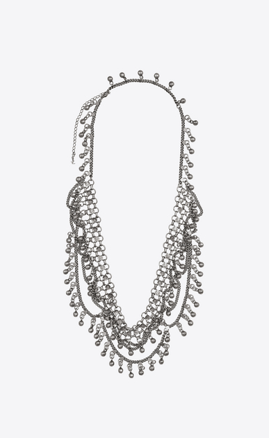 SAINT LAURENT Short Necklaces Woman Folk necklace with bells in pewter and silver metal a_V4