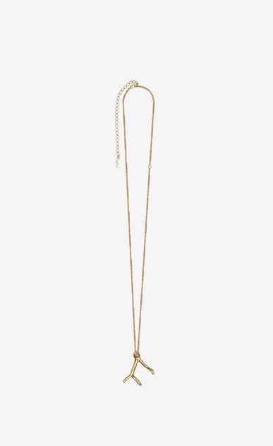SAINT LAURENT Short Necklaces Woman Coral Charms pendant in light gold metal a_V4