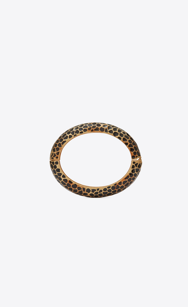 SAINT LAURENT Bracelets Woman Leopard Animal bracelet in gold metal and black enamel b_V4