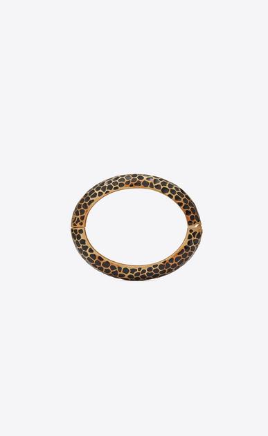 SAINT LAURENT Bracelets Donna Bracciale Animalier Leopard in metallo dorato e smalto nero b_V4