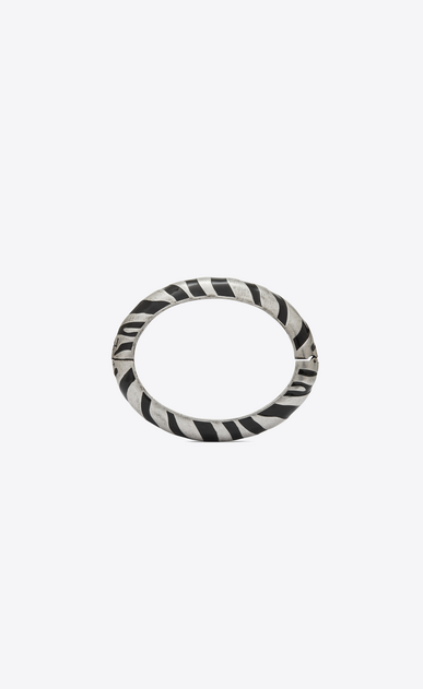 SAINT LAURENT Bracelets Donna Bracciale Animalier Zebra in metallo dorato e smalto nero b_V4