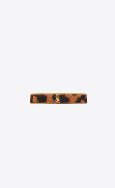 SAINT LAURENT Bracelets Donna Bracciale Animalier sottile in metallo dorato e pelle di vitello effetto leopardo a_V4