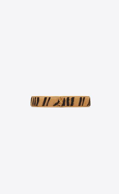 SAINT LAURENT Bracelets Donna Bracciale Animalier sottile in metallo dorato e pelle di vitello effetto tigre a_V4