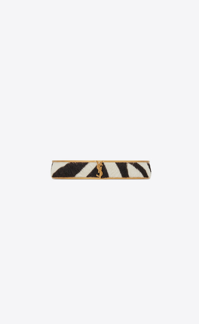 SAINT LAURENT Bracelets Woman Narrow Animal bracelet in gold metal and zebra-look calfskin a_V4