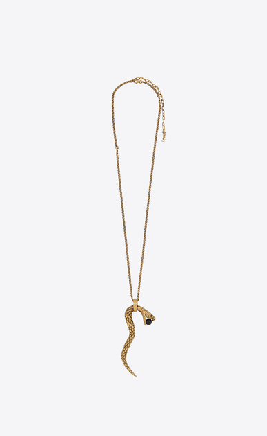 SAINT LAURENT Short Necklaces Woman Snake pendant in gold metal with a black glass bead. b_V4
