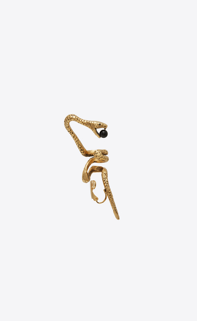SAINT LAURENT Earrings Woman Snake ear jewelry in gold metal with a black glass bead. b_V4