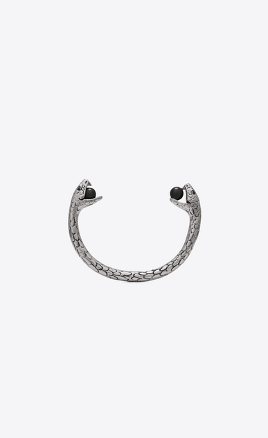 SAINT LAURENT Bracelets Woman Snake bracelet in silver metal with black glass beads. a_V4