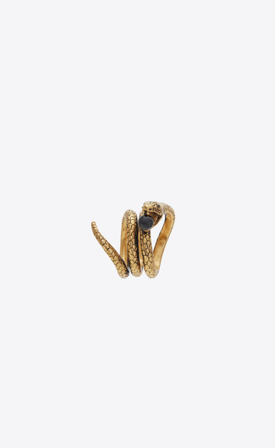 SAINT LAURENT Rings Woman Snake ring in gold metal with a black glass bead. b_V4
