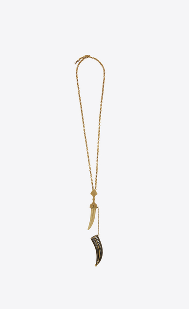 SAINT LAURENT Short Necklaces Woman Oversized Folk saber pendant in bronze metal b_V4