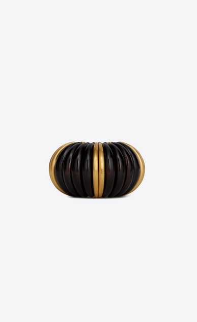 SAINT LAURENT Bracelets Woman Mandarin cuff bracelet in brown wood and gold metal a_V4