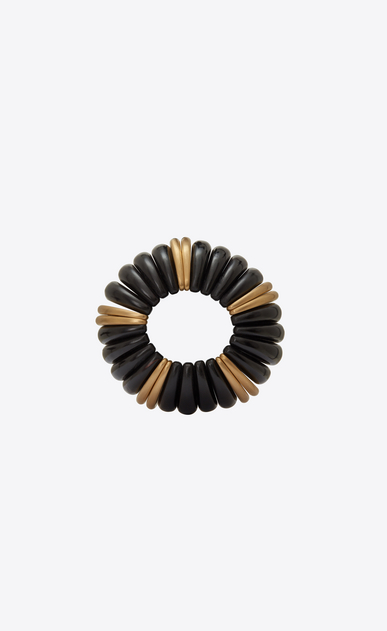 SAINT LAURENT Bracelets Woman Mandarin cuff bracelet in brown wood and gold metal b_V4