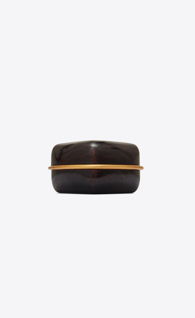 SAINT LAURENT Bracelets Woman Cuff bracelet in brown wood and gold metal a_V4