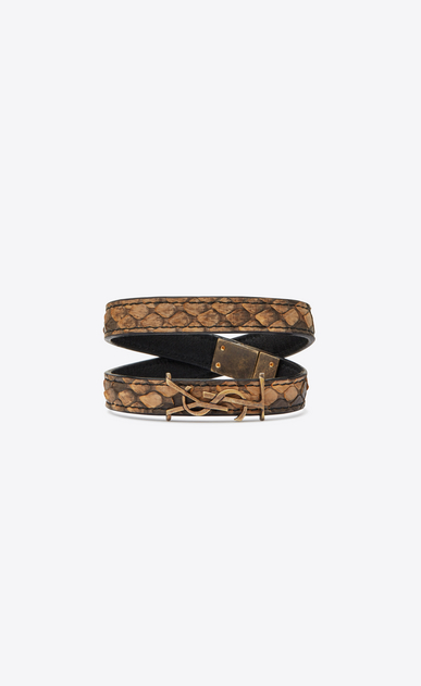 SAINT LAURENT Leather Bracelets Woman YSL double wrap bracelet in natural python and gold metal a_V4