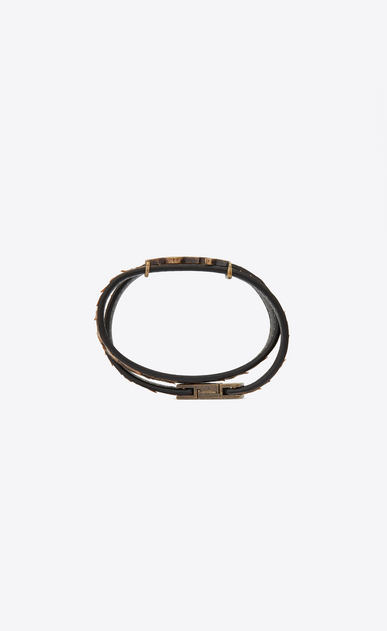 SAINT LAURENT Leather Bracelets Woman YSL double wrap bracelet in natural python and gold metal b_V4