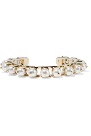 VALENTINO Gold-tone faux pearl bracelet