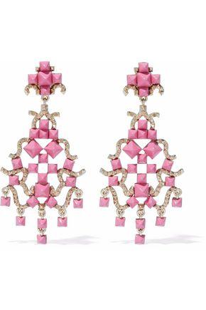 VALENTINO Gold-tone enamel clip earrings