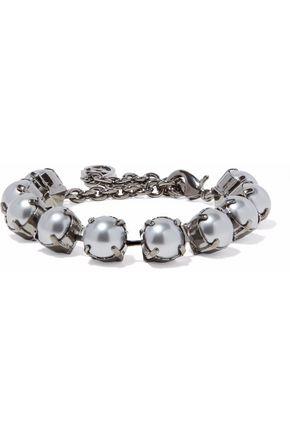 VALENTINO GARAVANI Gunmetal-tone faux pearl bracelet