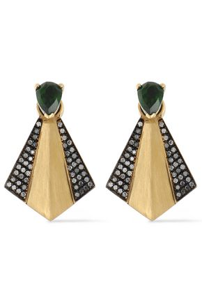 ILEANA MAKRI 18-karat gold, chrome diopside and diamond earrings