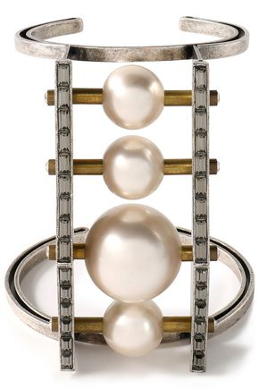 LANVIN Burnished silver-tone, faux pearl and crystal cuff