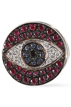 ILEANA MAKRI Dawn Love 18-karat white gold diamond, sapphire and ruby earring