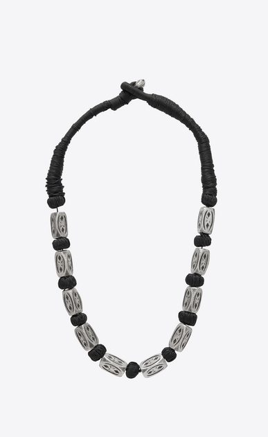 SAINT LAURENT Short Necklaces Man FOLK necklace with silver-toned metal beads a_V4
