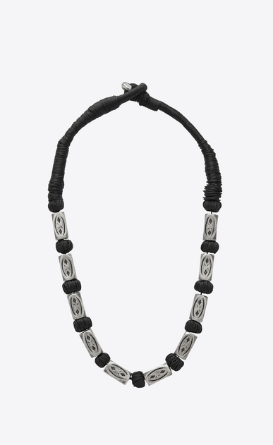 SAINT LAURENT Short Necklaces Man FOLK necklace with silver-toned metal beads b_V4