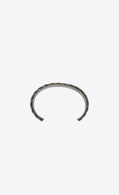 SAINT LAURENT Bracelets Man FOLK cuff in silver-toned metal b_V4