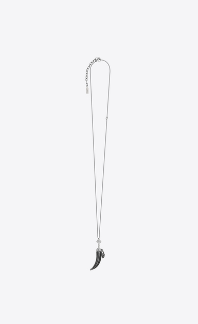 SAINT LAURENT Long necklace Man FOLK saber pendant in silver-toned metal a_V4