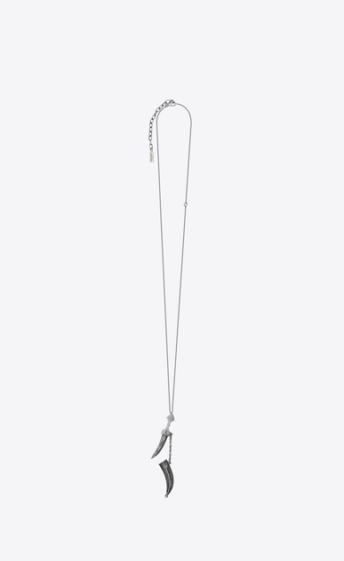 SAINT LAURENT Long necklace Man FOLK saber pendant in silver-toned metal b_V4