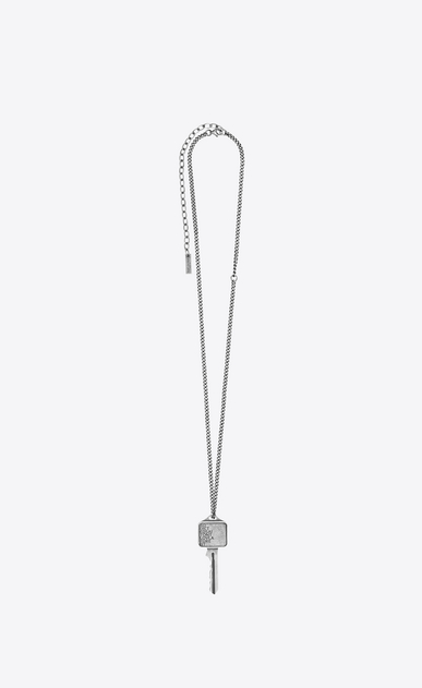 SAINT LAURENT Long necklace Man CHARMS ADDICTED TO LOVE key pendant a_V4