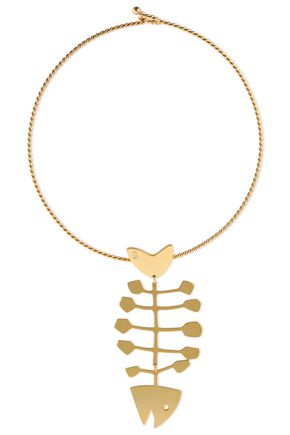 TORY BURCH Fish Statement gold-tone choker