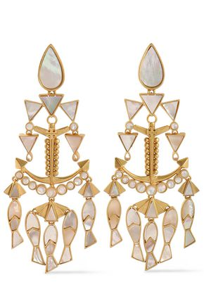 TORY BURCH Fish Statement gold-tone mother-of-pearl clip earrings