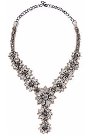 VALENTINO Flower Stones silver-tone, satin and crystal necklace