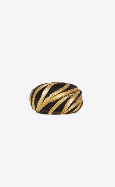 SAINT LAURENT Bracelets Woman Zebra-patterned cuff bracelet in brown and gold wood a_V4
