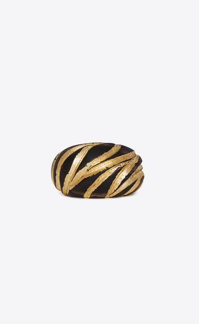 SAINT LAURENT Bracelets Donna Bracciale a polsino a motivo zebra in legno marrone e oro a_V4