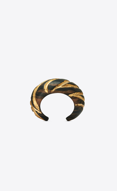 SAINT LAURENT Bracelets Woman Zebra-patterned cuff bracelet in brown and gold wood b_V4