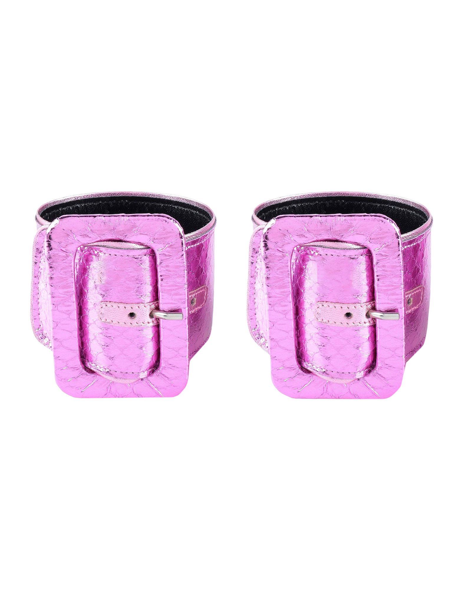 THE ATTICO Bracelets. faux leather, laminated effect, no appliqués, buckle, 2-piece set. Textile fibers