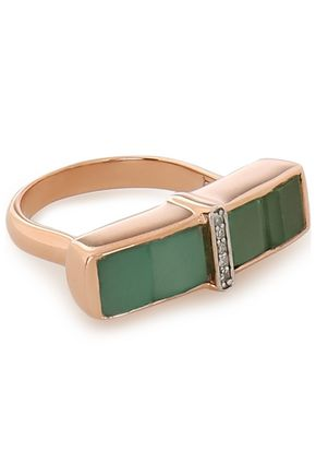 Baja Precious 18 Karat Rose Gold Vermeil, Emerald And Diamond Ring by Monica Vinader
