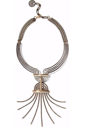 LANVIN Burnished and hammered gold-tone necklace