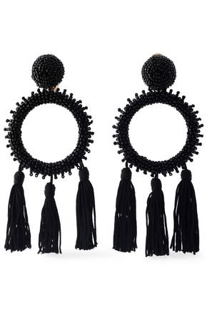 OSCAR DE LA RENTA Tasseled beaded clip earrings
