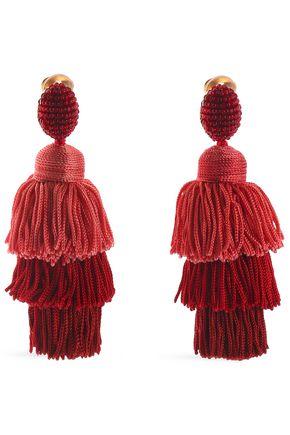 OSCAR DE LA RENTA Gold-tone, bead and cord tassel clip earrings