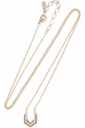 ASTRID & MIYU Fitzgerald Block 14-karat gold-plated crystal necklace