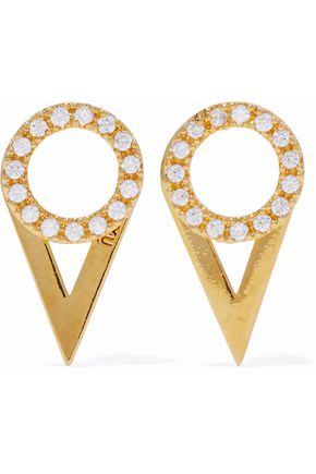 ASTRID & MIYU Fitzgerald gold-plated crystal earrings