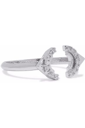 ASTRID & MIYU Rhodium-plated crystal ring