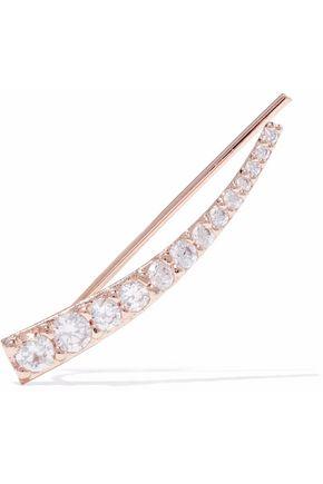ASTRID & MIYU Snake Charmer 18-karat rose gold-plated crystal ear cuff