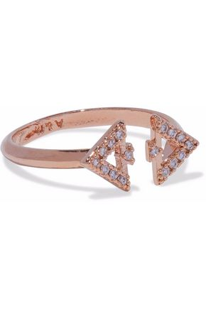 ASTRID & MIYU Fitzgerald Triangle rose gold-tone crystal ring