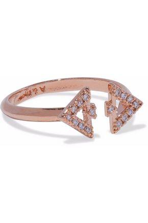 ASTRID & MIYU Fitzgerald Triangle rose gold-tone crystal ring