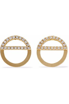 ASTRID & MIYU Fitzgerald Half Circle gold-tone crystal earrings