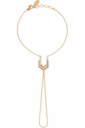 ASTRID & MIYU Fitzgerald gold-plated crystal finger bracelet